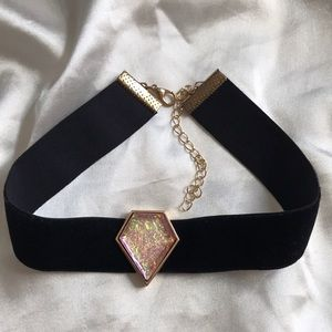 Velvet choker with gem